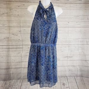 Banana Republic Tie Neck Dress Size 6 Blue